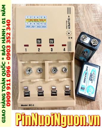 Super BC-3 _Bộ sạc pin Super BC-3 kèm sẳn 2 pin sạc 9v Ansman E300 (9v 300mAh) chính hãng
