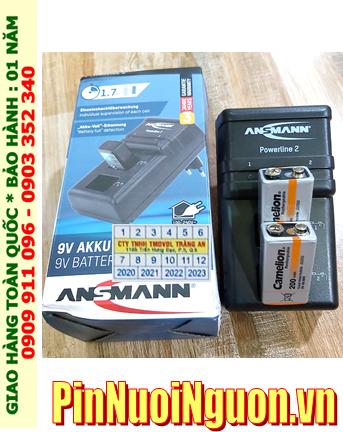 Ansman Powerline 2 _Bộ sạc Powerline 2 kèm 2 pin sạc 9v Camelion NH-9v200BP1 (9v200mAh) Vỏ màu Cam