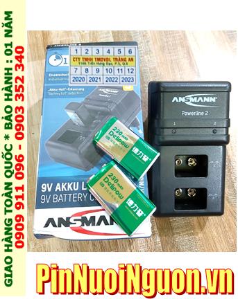 Ansman Powerline 2 _Bộ sạc Powerline 2 kèm 2 pin sạc 9v Delipow 9v 230mAh chính hãng