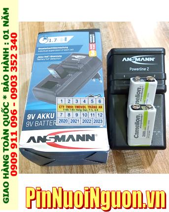 Ansman Powerline 2 _Bộ sạc Powerline 2 kèm 2 pin sạc 9v Camelion NH-9v200ARBP1 (9v200mAh) Vỏ TRẮNG