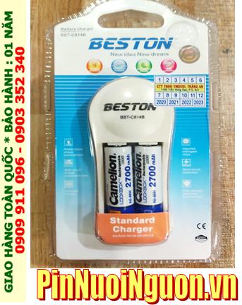 Bộ sạc pin AA Beston BST-C814B kèm 2 pin sạc Camelion NH-AA2700LBP2 (AA2700mAh) Lockbox 1.2v