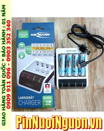 Ansman Comfort Smart _Bộ sạc Pin Comfort Smart  kèm 4 pin sạc Ansman AA2500mAh 1.2v chính hãng