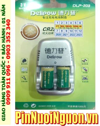 Bộ sạc pin 3v Lithium Delipow DLP-203 kèm sẳn 2 pin sạc Delipow CR2 800mAh 3v