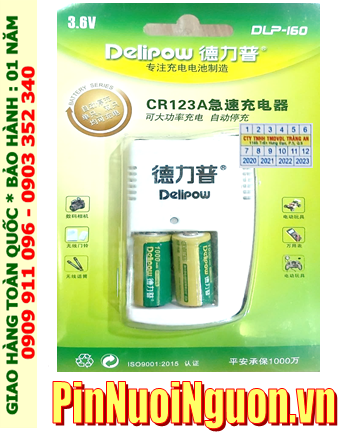 Bộ sạc pin 3v Lithium Delipow DLP-160 kèm sẳn 2 pin sạc Delipow ICR123A 1000mAh 3v