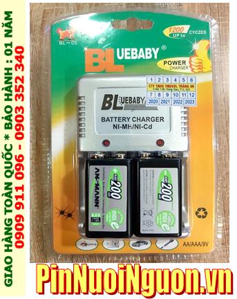 BlueBaby BL-5; Bộ sạc pin 9v BlueBaby BL-5 kèm 2 pin sạc Ansman 9v 200mAh chính hãng
