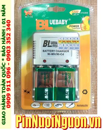 BlueBaby BL-5; Bộ sạc pin 9v BlueBaby BL-5 kèm 2 pin sạc Delipow 9v 230mAh chính hãng