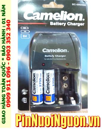 Bộ sạc pin AA Camelion BC-0904SM kèm sẳn 2 pin sạc Camelion AA2700mAh 1.2v Lockbox