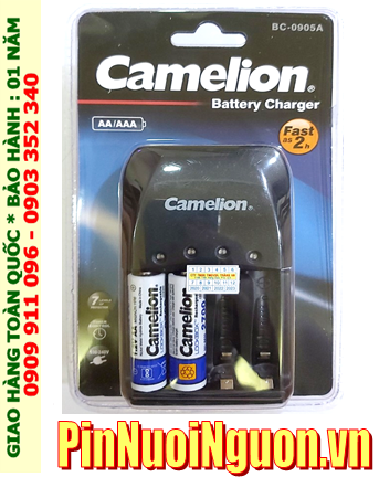 Camelion BC-0905A _Bộ sạc 2giờ BC-0905A kèm 2 pin sạc Camelion NH-AA2700LBP2 (AA2700mAh 1.2v)
