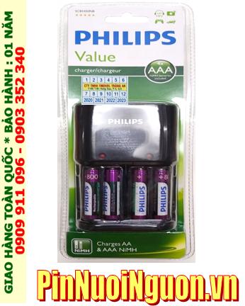 Bộ sạc pin AA Philips SCB1491NB kèm sẳn 4 pin sạc Philips AA2000mAh 1.2v _tự ngắt khi pin đã được sạc đầy