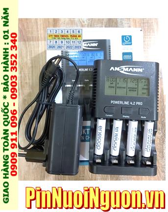Ansman Powerline 4.2Pro _Bộ sạc có chức năng XẢ PIN  kèm 4 pin sạc Eneloop AAA800mAh 1.2v _Japan