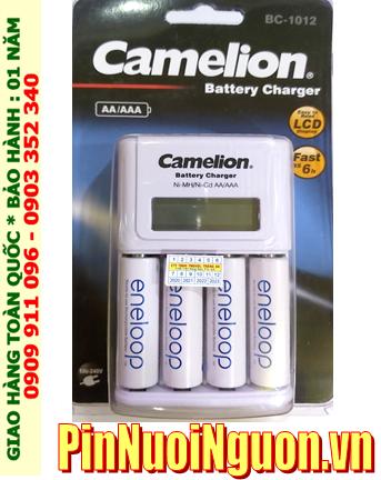 Bộ sạc có màn hình LCD Camelion BC-1012 _kèm 4 pin sạc Eneloop BK-3MCCE/4B (AA2000mAh 1.2v)
