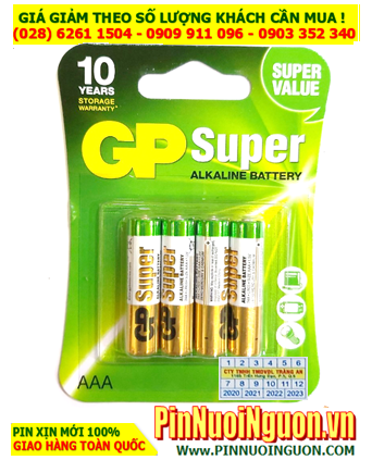 Pin GP SUPER 24AUOK-U4; Pin Alkaline 1.5v AAA GP SUPER 24AUOK-U4 chính hãng _Vỉ 4viên