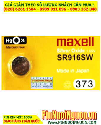 Maxell SR916SW _Pin 373; Pin đồng hồ Maxell SR916SW 373 silver oxide 1.55v _Made in Japan