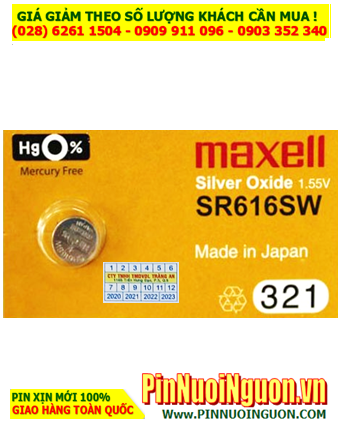 Maxell SR616SW _Pin 321; Pin đồng hồ Maxell SR616SW 321 Silver Oxide 1.55V _Made in Japan