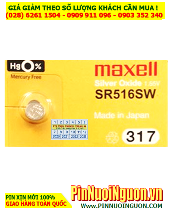 Maxell SR516SW _Pin 317; Pin đồng hồ Maxell SR516SW 317 silver oxide 1.55v _Made in Japan