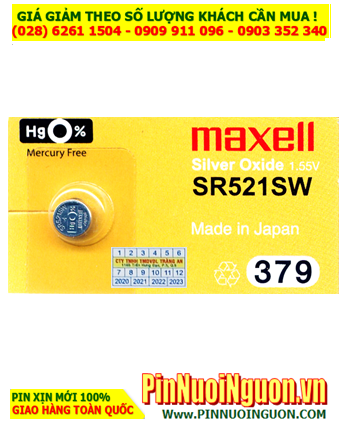 Maxell SR521SW _Pin 379; Pin đồng hồ Maxel SR521SW 379 Silver OXide 1.55v _Made in Japan