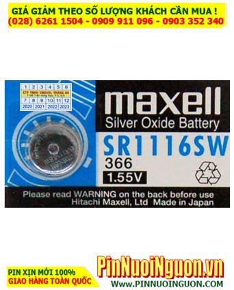 Maxell SR1116W _Pin 365;  Pin đồng hồ 1.55v Silver Oxide Maxell  SR1116 _Pin 365