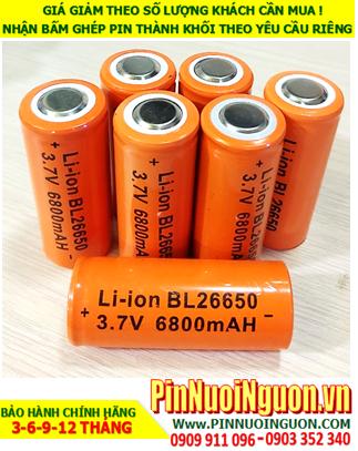 Pin sạc 26650; Pin sạc lithium 3.7v BL26650 6800mAh (26mmx60mm) Sử dụng cho đèn pin & Quạt điện