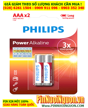 Pin Philips LR03, AM4; Pin AAA 1.5v Alkaline Philips LR03, AM4 Made in China - Vỉ 2viên
