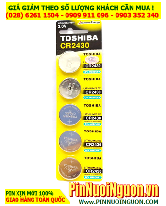 COMBO 1 vỉ 5 viên Pin Toshiba CR2430 Lithium 3.0v chính hãng _Giá chỉ 95.000đ/ Vỉ 5viên