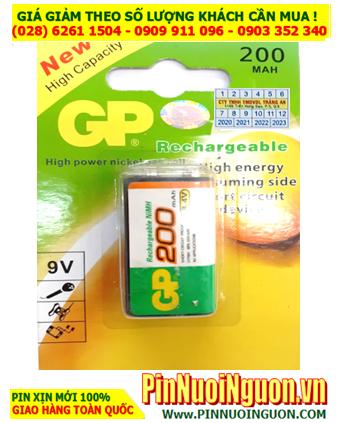 GP 9V200mAh, 6HR61; Pin sạc 9v GP 9V200mAh, 6HR61 (200mAh) chính hãng  _Vỉ 1viên