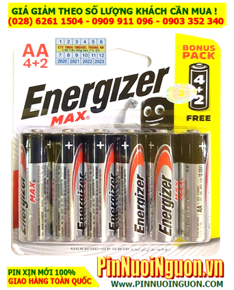 Pin Energizer E91 BP6; Pin AA Alkaline 1.5v Energizer E91 BP6 (LR6)-Made in Singapore | Vỉ 6 viên