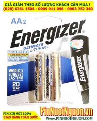 Pin chuột vi tính không dây, Pin AA Energizer L91-BP2 Ultimate Lithium 1.5v _Made in Singapore (Vỉ 2viên)