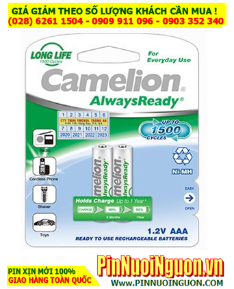 Camelion NH-AAA600ARBP2; Pin sạc AAA 1.2v Camelion NH-AAA600ARBP2 AlwaysReady _Vỉ 2viên